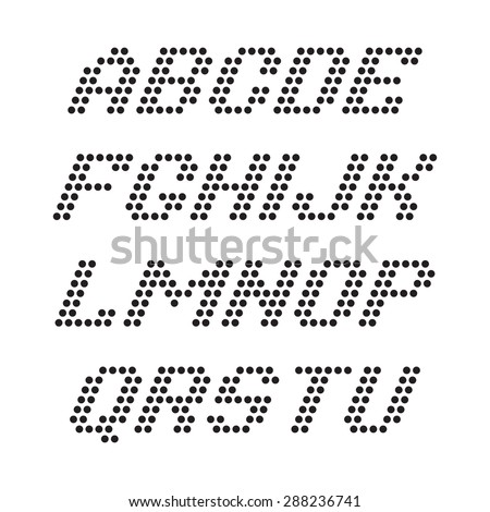Alphabet font and numbers from dots - stock vector