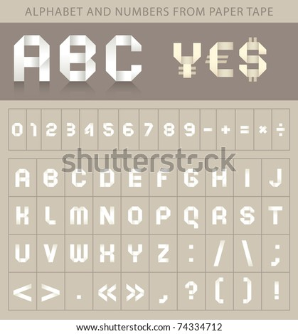 alphabet font from paper tape and currency symbols - stock vector