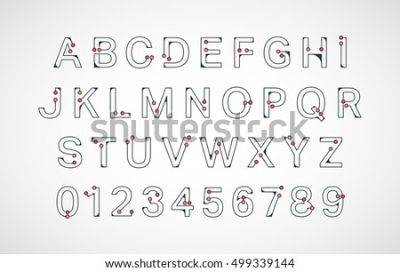 Alphabet Font Template Connection Colored Dots Design Letters And Numbers Vector Illustration