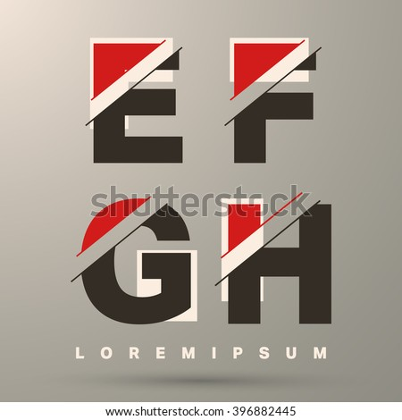 Alphabet font template. Set of letters E, F, G, H logo or icon. Vector illustration. - stock vector