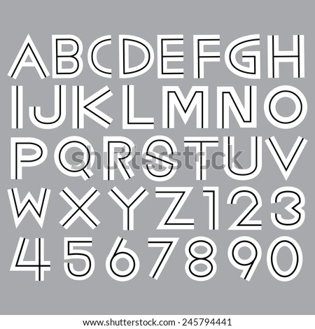 Alphabet fonts and numbers Vector EPS10