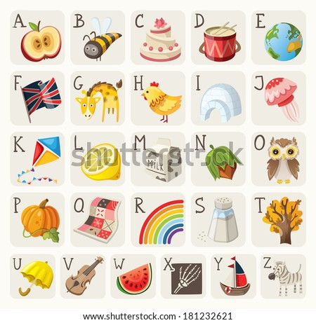 Alphabet for children - stock vector