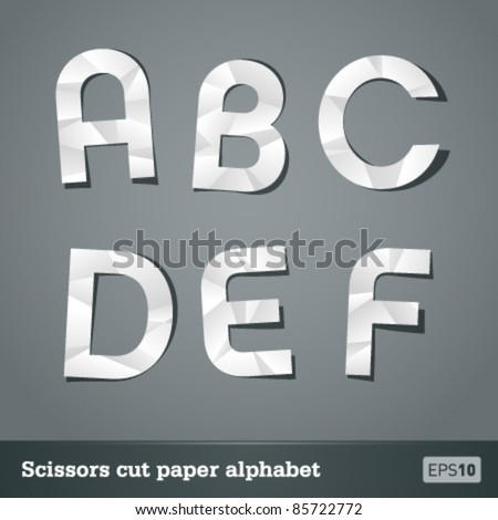 Alphabet for designers. Crumpled effect can be easily removed. - stock vector