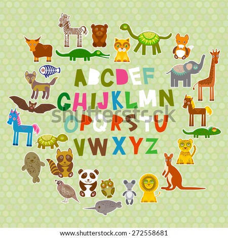 alphabet for kids from A to Z. Set of funny cartoon animals character. zoo on green polka dots background. Vector - stock vector