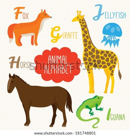Alphabet for kids with animals. Letters F, G, H, I, J. Fox, Giraffe, Horse, Iguana, Jellyfish - stock vector