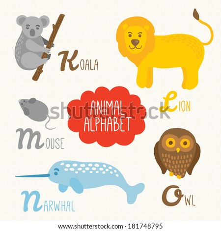 Alphabet for kids with animals. Letters K, L, M, N, O. Koala, Lion, Mouse, Narwhal, Owl - stock vector
