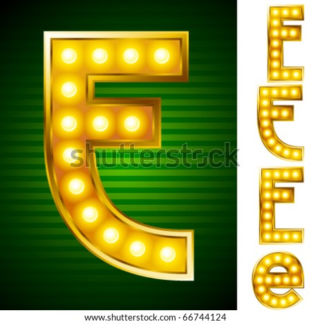 Alphabet for signs with lamps. Letter e