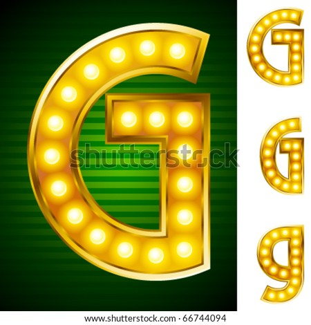Alphabet for signs with lamps. Letter g