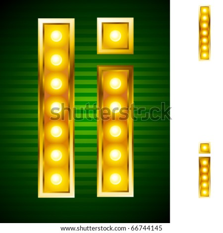 Alphabet for signs with lamps. Letter i