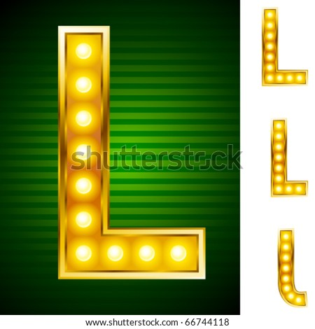 Alphabet for signs with lamps. Letter l