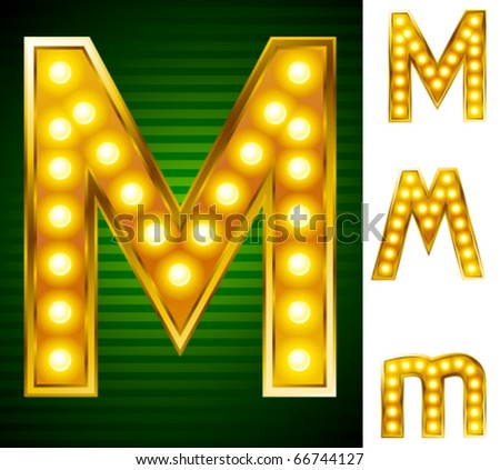 Alphabet for signs with lamps. Letter m