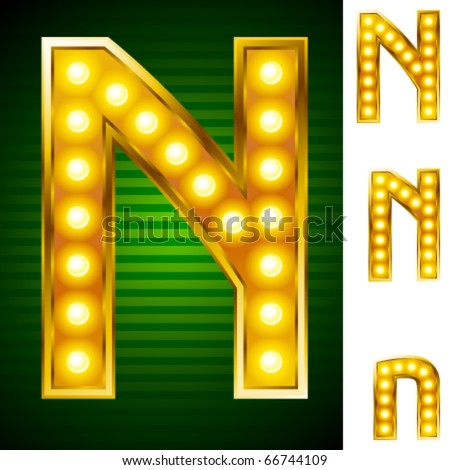 Alphabet for signs with lamps. Letter n