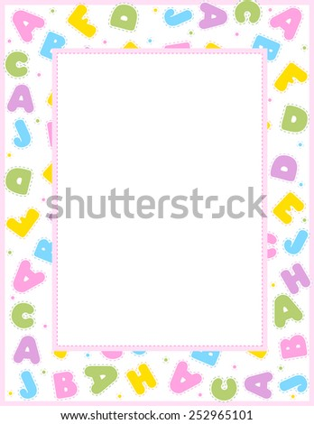 Alphabet frame for education, literacy, back to school announcements, posters, fliers, stationery, scrapbooks, albums.  - stock vector