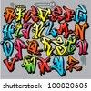 alphabet graffiti style. urban font - stock vector