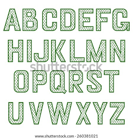 Alphabet herb vector set. English alphabet