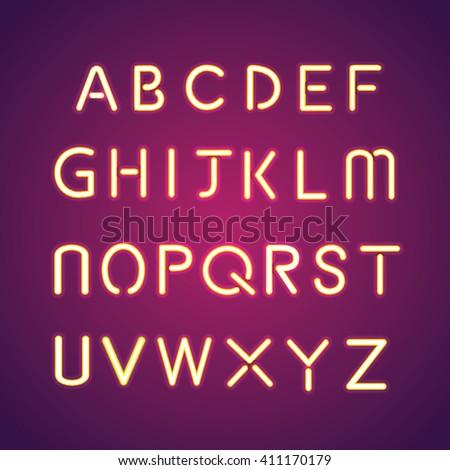 alphabet illumination text group - stock vector