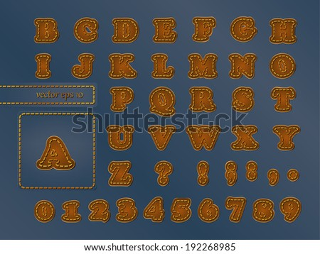 Alphabet imitating leather patches on denim fabric - stock vector