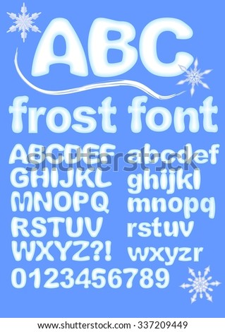 Alphabet in ice design. Uppercase, lowercase, numbers, exclamation and question mark for winter design. Snowflake shapes included. Grunge rounded characters in white and blue.  - stock vector