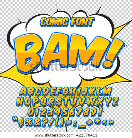 Alphabet in the yellow and blue color style of comics, pop art. Letters and figures for decoration of kids' illustrations, websites, posters, comics and banners.