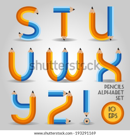 Alphabet in wooden bold pencil style. Part III - stock vector