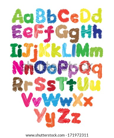 Alphabet kids doodle colored hand drawing in white background - stock vector