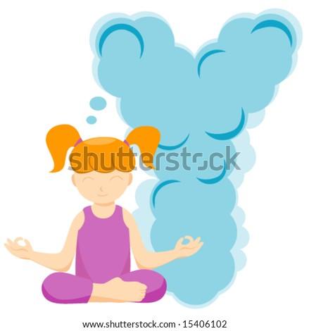 Alphabet Kids (Yoga Instructor) - Vector - stock vector