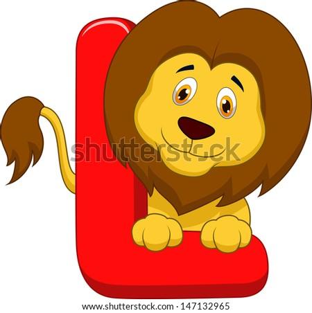 Alphabet L with lion cartoon - stock vector