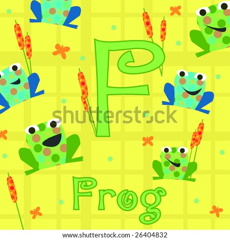 alphabet letter f is for frog
