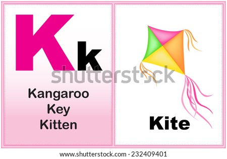 Alphabet letter K with clip-art and few similar words starting with the letter printable graphic for preschool / kindergarten kids  - stock vector