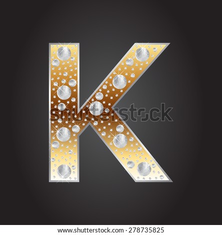 Alphabet letter K with diamonds.Abstract logo K.Vector illustration. - stock vector