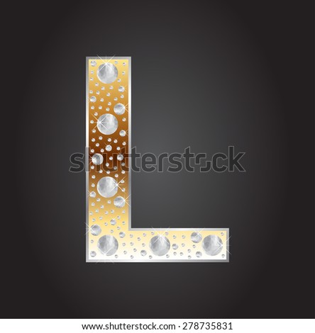 Alphabet letter L with diamonds.Abstract logo L.Vector illustration. - stock vector
