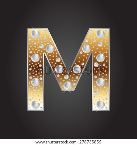 Alphabet letter M with diamonds.Abstract logo M.Vector illustration. - stock vector