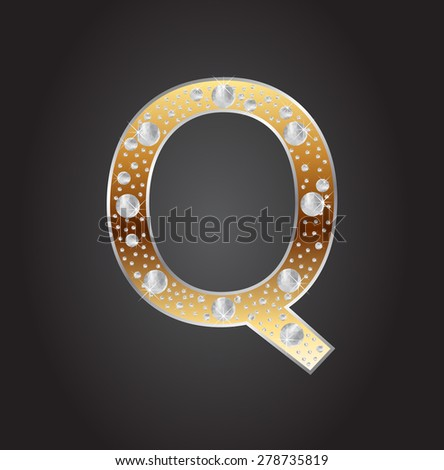 Alphabet letter Q with diamonds.Abstract logo Q.Vector illustration. - stock vector