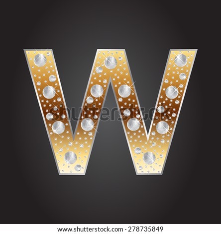Alphabet letter W with diamonds.Abstract logo W.Vector illustration. - stock vector