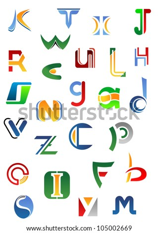 Alphabet letters and icons from A to Z for design, such logo. Jpeg version also available in gallery