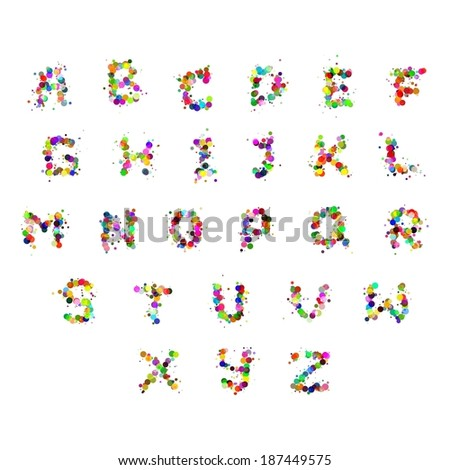 Alphabet letters consist of many color bubbles - stock vector