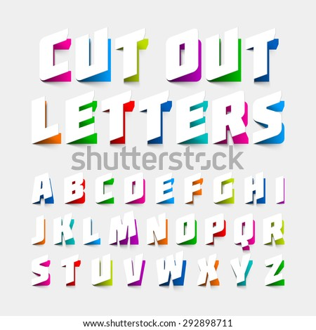 Alphabet letters cut out from paper. Vector. - stock vector