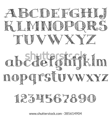 Alphabet Letters Font With Decorative Cross Hatched And Numbers Of Serif Nice