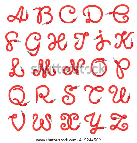 Alphabet letters logo formed by jack cable. Vector design template elements for your music application or corporate identity. - stock vector