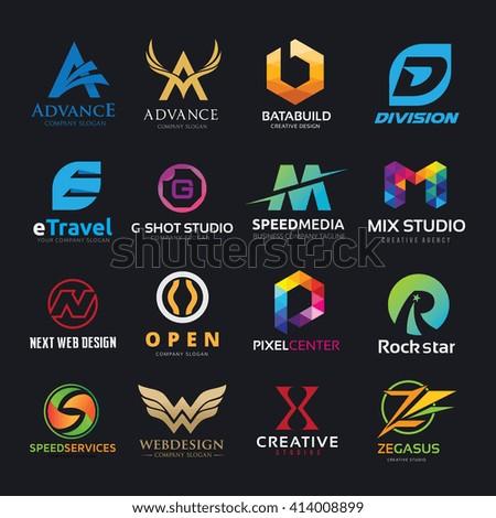 Alphabet Letters Logo Set Logo Design Stock Vector