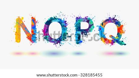 Alphabet. Letters N, O, P, Q. Part 4 - stock vector