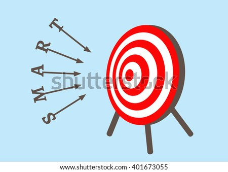 Alphabet letters of smart dart run to goals target in bullseye on dartboard, Successful business concept, vector illustration design - stock vector