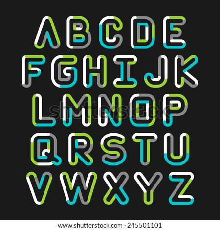 Alphabet line transparent color font style. Vector illustration. - stock vector