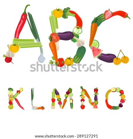 Alphabet made of fruits and vegetables - stock vector