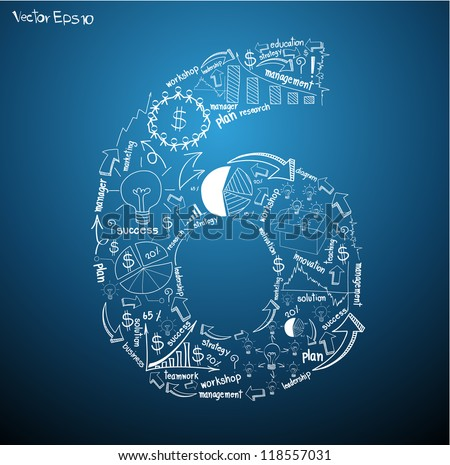 Alphabet number ( 6 ) Drawing business plan concept ideas, Vector template design - stock vector