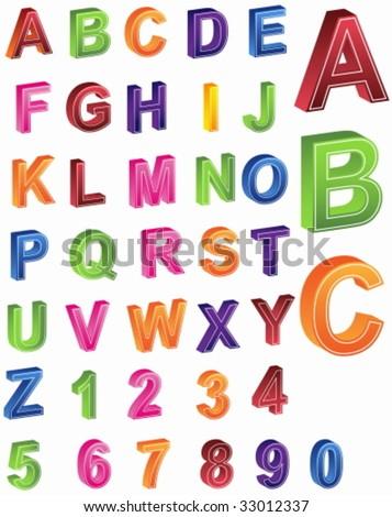 Alphabet Numbers - stock vector