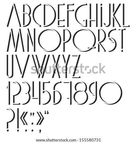 Alphabet,numbers and punctuation marks. Vector set  - stock vector