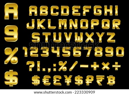 alphabet, numbers, currency and symbols pack - rectangular beveled golden font, vector
