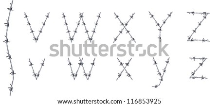 Alphabet of barbed wire, font, letters V W X Y Z, very detailed - stock vector