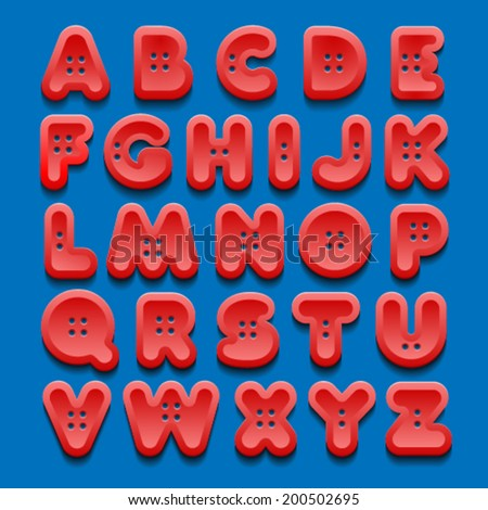 Alphabet of buttons. - stock vector